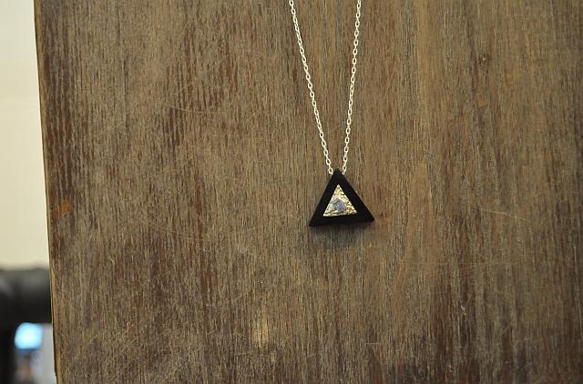 Triangle Ebony, Tanzanite Pendent